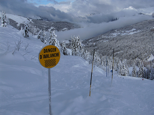 Warning signpost for avalanch zone